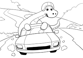 dinosaurs race car driving coloring page colouring page