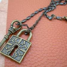antique key necklace images Unisex womens mens necklace chain antique bronze toned with lock jpg