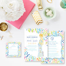 custom watercolor lilly pulitzer inspired baby shower invitations