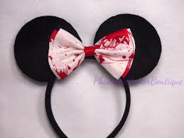 halloween neckties minnie mouse ears bloody white bow horror headband halloween