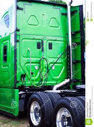 model semi trucks green clean new model rig semi truck rig back view stock photo
