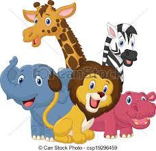 safari cartoon vector illustration of happy safari animal cartoon clipart vector