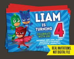 pj masks invitation pj masks birthday owlette invitation