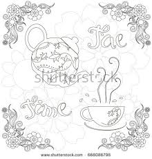 banner coloring pages banner coloring page lettering tea time stock vector 668086798