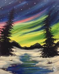 how to paint northern lights winter northern lights friday may 25 2018 painting with a twist