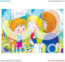 Messy Bathroom Clipart Illustration Of A Mom Instructing Her Two Little Children