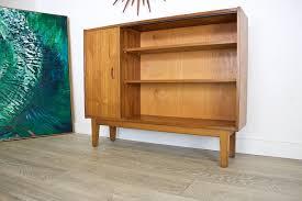 mid century retro danish style teak compact sideboard low bookcase