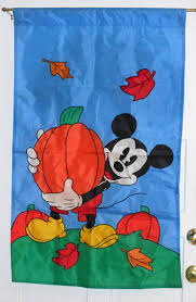 Disney Flag Mickey Mouse Decorative Garden Flag Fall Autumn Leaves Pumpkins