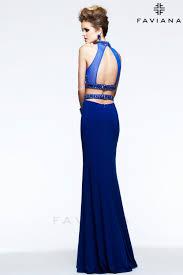 two piece evening dress high neck chiffon royal blue evening gown