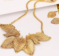 gold necklace earring sets images Vintage gold leaf statement bib necklace earrings set wholesale jpg