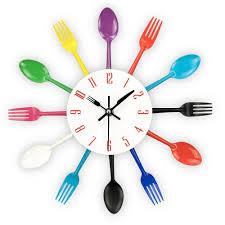 wholesale modern kitchen wall clock sliver cutlery clocks spoon