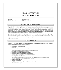 Resume Template For Secretary Legal Secretary Job Description Jpg