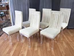 six piece set of charles hollis jones lucite leg dining chairs