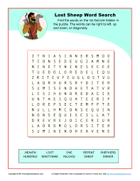 the lost sheep word search bible activities for kids