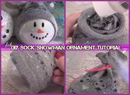 diy sock snowman tutorial for ornament decoration