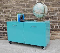 Rolling Storage Cabinet Vintage Metal Turquoise Aqua Rolling Storage Cabinet Side Ta