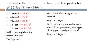lesson 107 maximizing area fixed perimeter perimeter and area