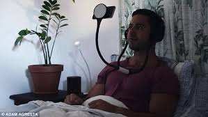 handsfree headpal device allows you to watch movies without