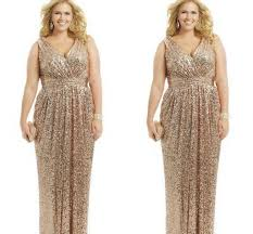 2015 plus size formal dresses gold sequin sheath v neck
