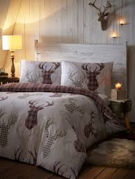 tartan check stag deer antlers duvet quilt cover bedding bed linen