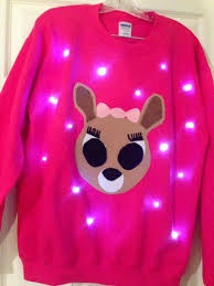 ugly christmas sweater with lights light up ugly christmas sweater cute reindeer also available