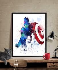 Superhero Home Decor Captain America Captain America Print Marvel Avengers