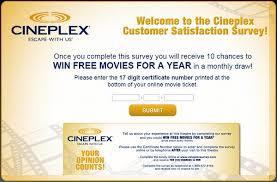 cineplex online take cineplex customer survey to win free movie tickets for a year