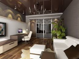 glass doors completed black wall television studio apartment