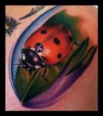 Ladybug And Flower Tattoos - art junkies tattoo studio tattoos flower lady bug color
