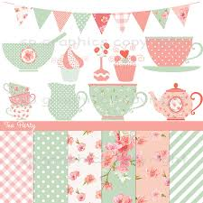 shabby chic tea party digital clipart for cards photography
