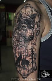 Wolf Indian Tattoos - jungle themed wolf by artist niloy das india lizard s