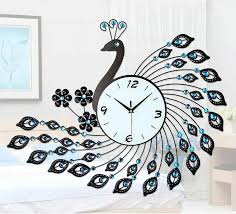 peacock wrought iron wall clock with diamonds living room