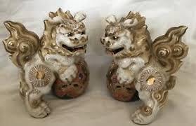 kutani shishi vintage pottery kutani shi shi foo dog guardian lion beast moriage