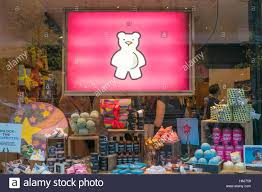 lush u0027 christmas shop window display manchester uk stock photo