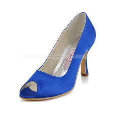 Wedding Shoes Peep Toe Royal Blue Peep Toes High Heeled Satin Bridal Shoes