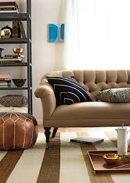 wondrous brown vinyl backseat tufted sofa with open living room