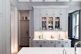 Glass Shelves For Kitchen Cabinets Dark Gray Butler Pantry Cabinets With Glass Shelves Transitional
