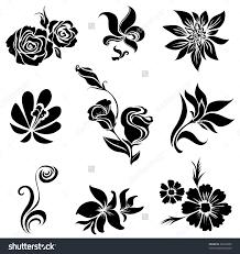 hand draw black and white line art ornate flower design ukrainian
