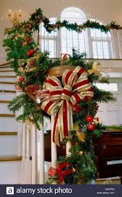 Christmas Lights For Stair Banisters Christmas Garland Staircase Stock Photos U0026 Christmas Garland
