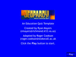 Interactive Self Scoring Jeopardy Template By Rcook2sc Teaching Jepordy Template