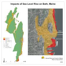 Map Of Maine Towns Maps Maine Communities Affected Sea Level Rise