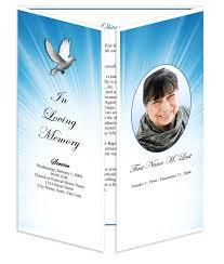 memorial program templates funeral program templates gatefold celestial dove
