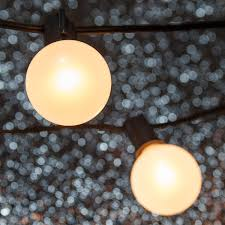 patio lights pearl white satin lights 15 g50 e17 bulbs black wire