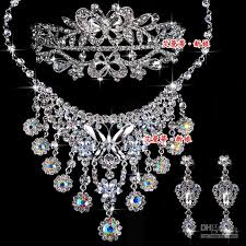 wedding necklace earrings images Hot wedding jewelry set diamond butterfly necklaces earrings jpg