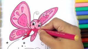 draw color paint butterfly coloring page for kids to learn