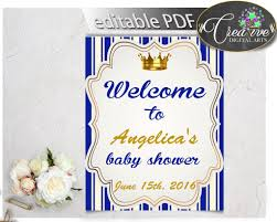 baby shower welcome sign royal baby shower welcome sign editable prince royal blue