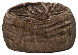 gdfstudio meridian plush dark brown fur fabric bean bag