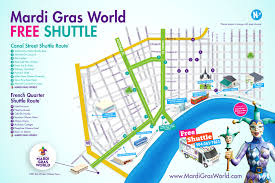 Map Of New Orleans Louisiana Complimentary Shuttle Information Mardi Gras World