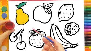 learn drawing for kids how to color fruits and vegetables youtube