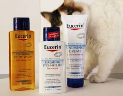eucerin calming cream itch relief and body oil review mythirtyspot my kitty sophie insisted on being the official spokes kitty by sneaking onto my photo shoot